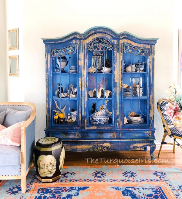 Parisian Hand Painted Blue Vintage Hutch