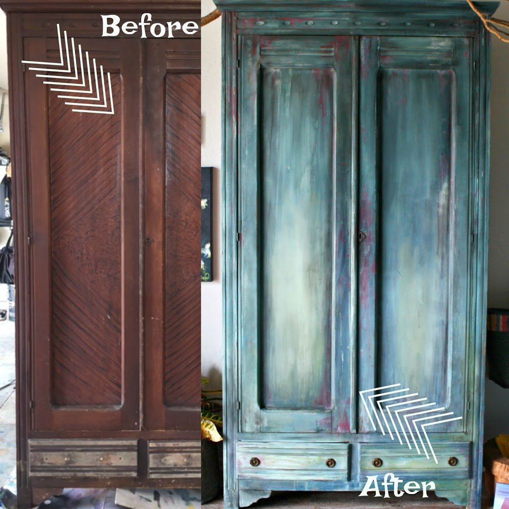Antique Armoire DIY Paint Furniture Makeover and a How To Video Tutorial