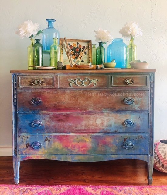 Turquoise.iris.dionne.monet.watercolor.dresser