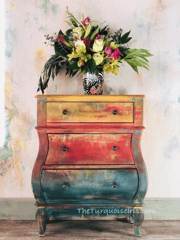 TurquoiseIris.dresser.rustic.boho