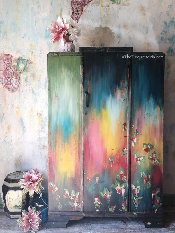 Bohemian Hand Painted Floral Armoire Furniture Makeovers