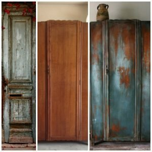 One of the first wardrobes painted by Dionne, a large wardrobe partially painted and fully distressed