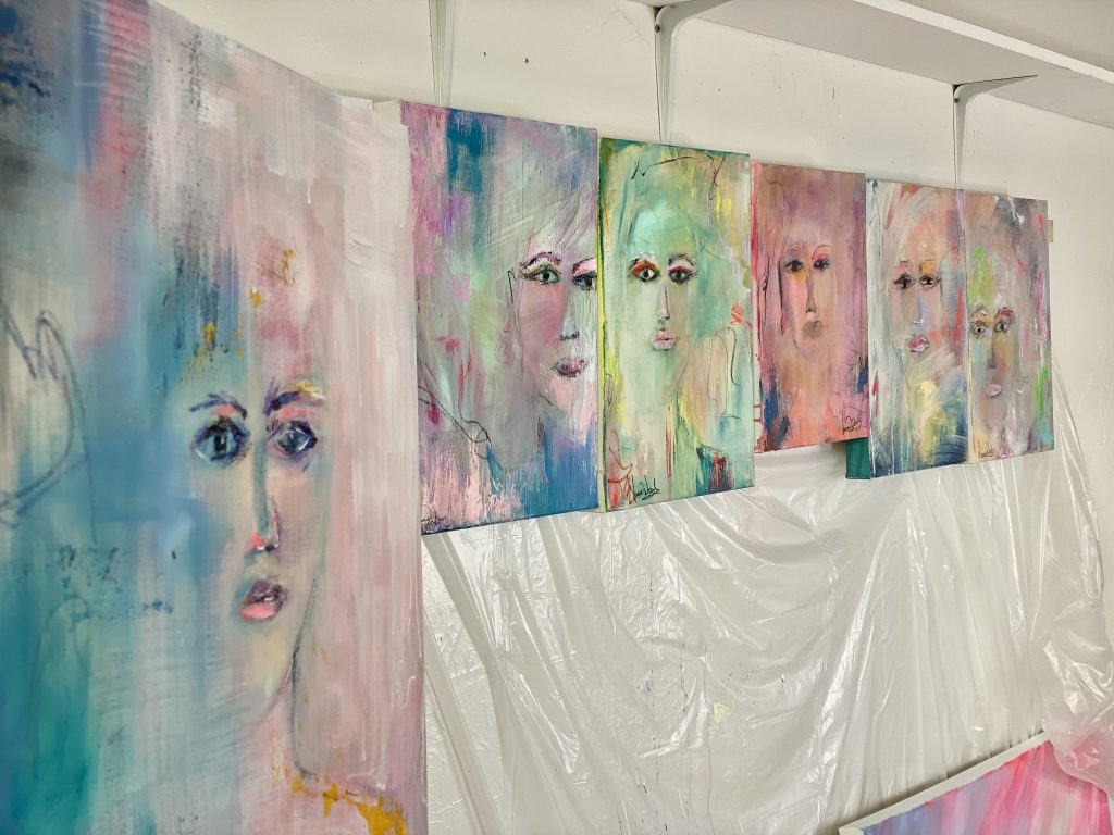 A canvas art series of expressions in many colors