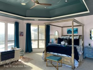 Picture of Bedroom with Pink walls and teal ceiling
