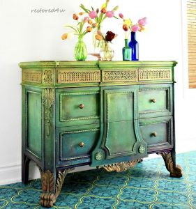A green ombre side table with yellow accents by Ildiko Horvath