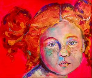 portrait on canvas of a redheaded girl