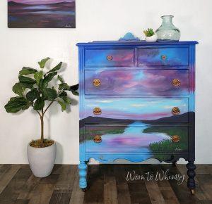 landscape scene painted on a dresser