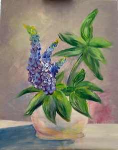 Jo Murphy's finger painting of lupines