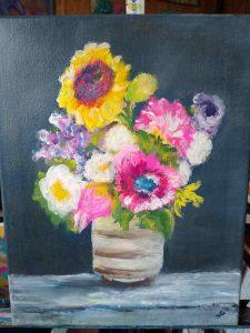 Sue Gilbert's finger painted bouquet